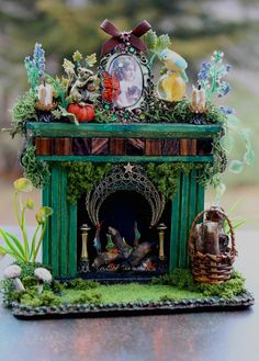OOAK Dollhouse Miniature Woodland Fairy Fireplace 1/12 scale. $60.00, via Etsy.