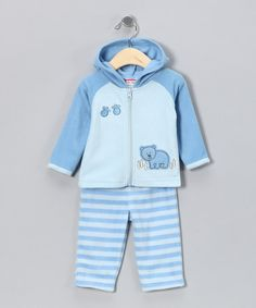 Take a look at this Blue Stripe Bear Zip-Up Hoodie & Pants - Infant by Baby Togs on #zulily today!#Fall