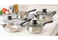 Good meals start with quality cookware, and this 7-piece set contains everything you need to prepare a gourmet feast! A full array of pots and pans, complete with lids, makes cooking easy and fun. Set