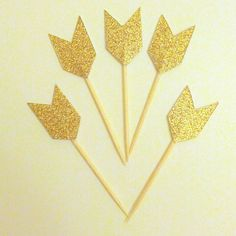 Gold Cheveron Cupcake Picks - Gold Glitter  These glitzy & romantic Chevron Arrow Tails are an elegant addition to any celebration. Each Pick is