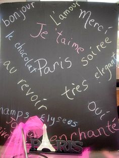 French words for Paris party, need to find a big chalkboard for alaysha;s party for this idea