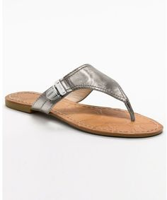 a92dc1130afc Metallic silver leather flip flops with cute metal logo
