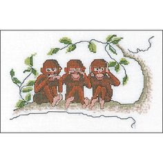 "Thea Gouverneur Three Wise Monkeys On Aida Counted Cross Stitch Kit-7.5""X5"" 16 Count"
