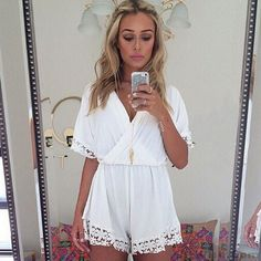 Wow~ Awesome Lace Deep V-Neck Slim One Piece RomperJumpsuit! It only $22.99 at www.AtWish.com! I like it so much<3<3!