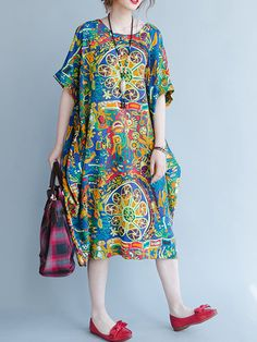 O-NEWE Casual Loose Short Sleeves Printed Dresses For Women