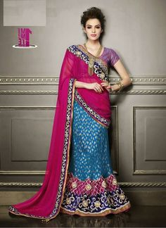Turquoise & Magenta Indian lengha saree in crepe and chiffon Indian Lengha, Lehenga Style Saree, Blue Lehenga, Lehenga Gown, Pakistani, Pink Saree, Bollywood Designer Sarees, Indian Designer Sarees, Latest Designer Sarees