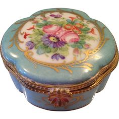 Wonderful Vintage Robin's Egg Blue and Pink Floral Hand Painted Limoges Box
