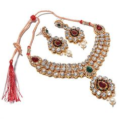 Jewar muliclour ad gold plated indian bridal necklace latest design jewelry set 5739 for womens