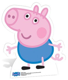 This George Pig mini cardboard cutout is a great decoration for a Peppa Pig party! Pair with our Peppa Pig cutout and pretend to be the whole Pig family! Kids love taking pictures with these larger-then-life cutouts made from durable cardboard complete wi Cumple George Pig, Peppa E George, George Pig Party, George Pig Cake, Fiestas Peppa Pig, Cumple Peppa Pig, Peppa Pig Familie, Familia Peppa Pig, Bolo Da Peppa Pig