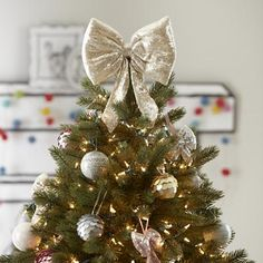 Sequin Gold Bow Tree Topper.