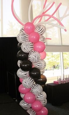 balloon tower for zebra theme Quinceañera