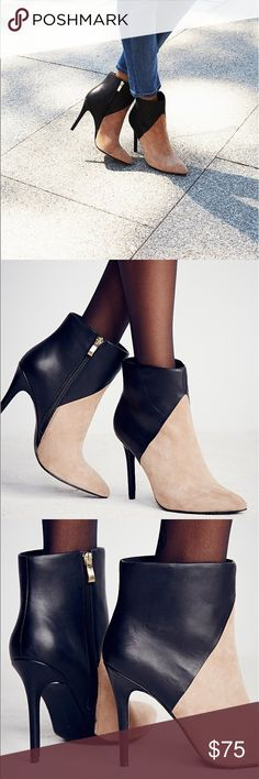 """Charles by Charles David High-heeled ankle boots with tonal leather and suede design. Features gold zip closures for easy on/off.  Suede Leather Import Heel: 4.5"""" = 11.43 cm 
