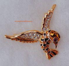 Bright Gold Humming Bird Brooch Enamel Crystal Rhinestone 55mm Wing Span #SwarovskiCrystalRhinestones