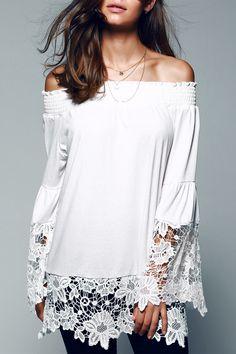 13.57 Off The Shoulder Lace Splicing Blouse Weiße Spitze, Damenbekleidung,  Chiffon Blusen, Farben 2f4983ec9e
