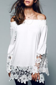 $13.57 Off The Shoulder Lace Splicing Blouse