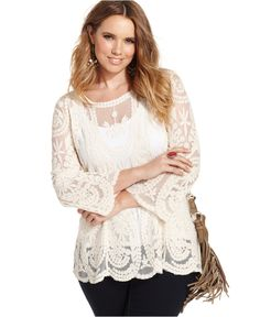 American Rag Plus Size Three-Quarter-Sleeve Embroidered Top - Tops - Plus Sizes - Macy's