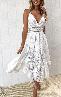 c0e813a3465bb Angashion Women s Dresses-Summer Sexy Lace Deep V Neck Spaghetti Strap  Swing Midi Dress