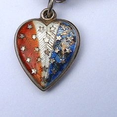 Victorian Sterling Enamel Heart, c. 1900 American Stars and Stripes in Red White and Blue
