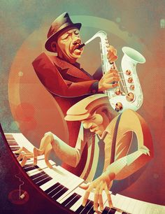 Some free jazz for the weekend. Ornette Coleman and his beautiful white sax. For more jazz related art visit jazzanddraw. African American Art, African Art, Black Art, Ornette Coleman, Jazz Poster, Illustration Art, Illustrations, Jazz Art, Art Deco