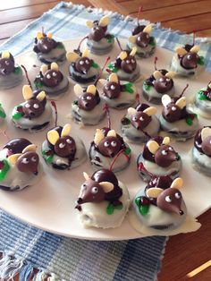 Oreos, cherries and Hershey's kisses. Almond slices for ears!
