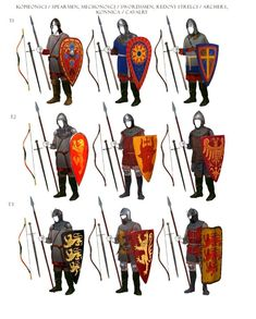 Assortment of eastern infantry and cavalry units Medieval Weapons, Medieval Knight, Medieval Fantasy, Armadura Medieval, Fantasy Armor, Fantasy Weapons, Knight Armor, Historical Art, Fantasy Inspiration