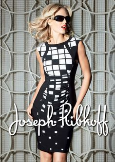 Joseph Ribkoff Dress | Spring 2014 | Black & White | #JosephRibkoff