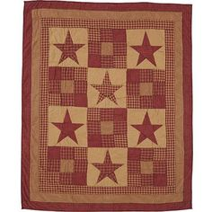 "This beautiful quilt will add a county charm to any room. It features charming tan, country red plaids, and beautiful star blocks. It is approximately 60"" x 50""."