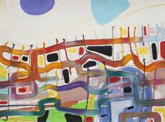 """Saatchi Art Artist: Gitte Winther; Paint 2011 Painting """"Fence and fields"""""""