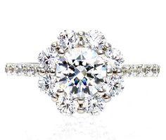 14K Moissanite Engagement Ring Cluster Flower Diamond Halo Moissanite Ring Conflict Free Diamond Alternative Custom Bridal Jewelry. $2,385.00, via Etsy.