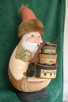 Handpainted Gourd-Country Patchwork Santa by on Etsy Christmas Things, Christmas Ornaments, Painted Gourds, Attic Ideas, Gourd Art, Old Wood, Bulbs, Snow Globes, Santa