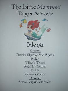 Disney dinner and a movie night ideas for various Disney classics!