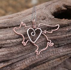 Flying Pig Necklace, Copper, Sterling Silver, Heart, Love, Wire Jewelry by Karismabykarajewelry on Etsy https://www.etsy.com/listing/213231197/flying-pig-necklace-copper-sterling