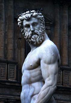 Fountain of Neptune (detail) by Bartolomeo Ammannati, in the Piazza della Signoria, Florence, Italy
