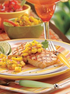 grilled salmon with mango relish