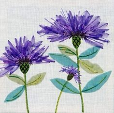 "Cornflowers Exotic Flower Textile Embroidery Kit 0144 - Emboidery Kit contains printed 100% linen fabric, coloured sheer fabrics, threads on numbered card, fully illustrated step by step instructions, stitch & design detail, chenille needle. Design size: 12"" x 12"" (30 x 30 cms)"