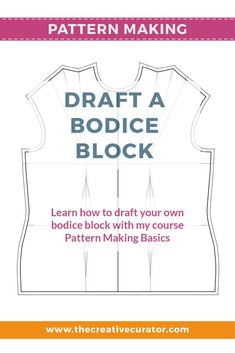 Learn how to draft a bodice block using your own measurements for a better fitting bodice sloper! - The Creative Creator #patternmakingbasics #patterndrafting #patternmaking #sewingprojects Pattern Drafting Tutorials, Sewing Tutorials, Modern Sewing Patterns, Clothing Patterns, Dress Patterns, Bodice Pattern, Sewing Basics, Sewing Tips, Sewing Hacks