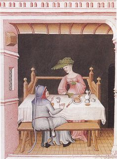 A courtesan sitting on a French type stryxsitten. The ends of the armsrests are pointed.   Miniature around 1405. Ms. 664 fol. 209v, Bibliotheque National, Paris, France.