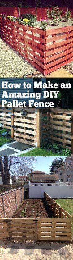 Decor outdoor patio diy fence Ideas for 2019 Wood Pallet Fence, Diy Fence, Backyard Fences, Diy Pallet, Fence Ideas, Wood Pallets, Fence Garden, Garden Beds, Garden Pallet