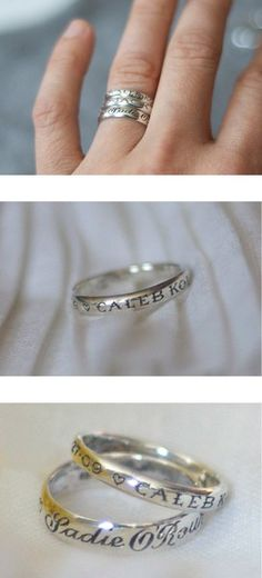 Childs name and date of birth on the ring. I like these :)