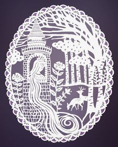 Rapunzel Fairy Tale Illustration - Original Papercut Print - by SarahTrumbauer on etsy