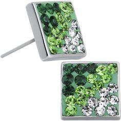 6mm Green Goddess Gem Square Stud Earrings