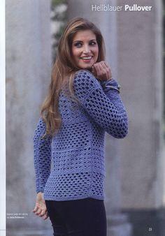 Голубой пуловер, связанный крючком. Обсуждение на LiveInternet - Российский Сервис Онлайн-Дневников