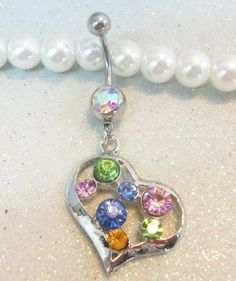 Naval belly button ring with pink, blue and purple crystal heart 14ga