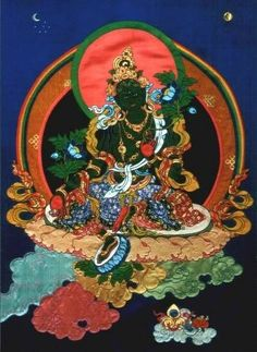 Green Tara, contemporary fabric thangka by textile artist Leslie Rinchen-Wongmo, the only Western artist trained in this Tibetan artform. Textile Arts Resource Guide: September 2010