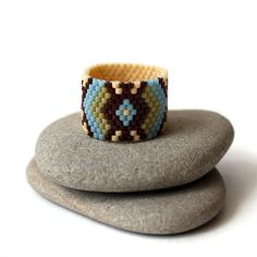 Wide boho ring Ethnic ring Colorful bohemian ring by HappyBeadwork