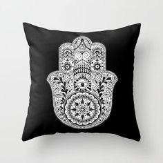 Hamsa Black & White Hand Eye Indian Buddha Ganesh Throw Pillow by CPT HOME