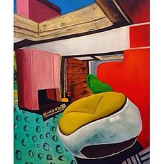 Nostos, 2014- oil on canvas, 150cm x 180cm      #paint#painter#atelier#studio#brushes#colours#color#oilpainting#oilpaint#oil#painter#artist#painter#canvas#contemporary#contemporaryart#happy#art#sixties#seventies#chair#room#interiors#interior#design#pattern#artist#bigpainting#surrealart#surrealism#surreal#60s#gallery#pattern#colours