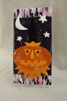 Very Cool!! Tall pumpkin with moon at Roses Glassworks