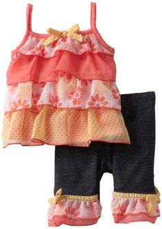 Little Lass Baby-girls Infant 2 Piece Ruffle Skimmer Set, Coral, 3/6 Months