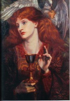 The Damsel of the Sanct Grael or Holy Grail - Rossetti Dante Gabriel Date: 1874 Style: Romanticism Genre: literary painting Dante Gabriel Rossetti, Maria Magdalena, John Everett Millais, Marie Madeleine, Pre Raphaelite Brotherhood, Edward Burne Jones, Religious Art, Our Lady, Ikon